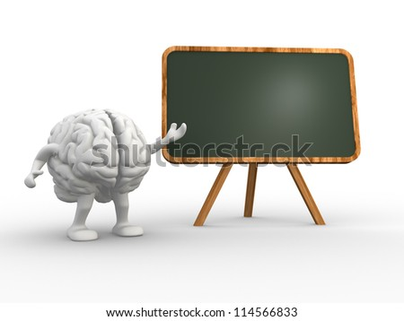 3d brain and a backboard. Concept of intelligence. 3d render - stock photo