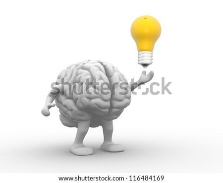 3d brain and a light bulb. 3d render illustration - stock photo