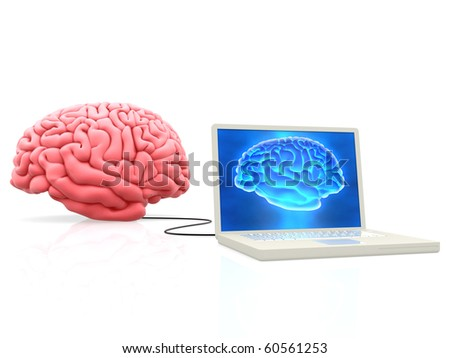 3D Brain connected to a laptop computer - isolated over a white background