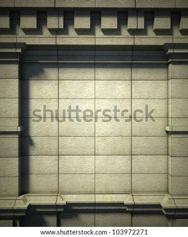 3d brick wall background, antique architecture