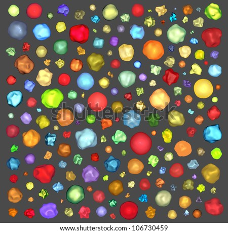 3d bright abstract shapes on gray backdrop