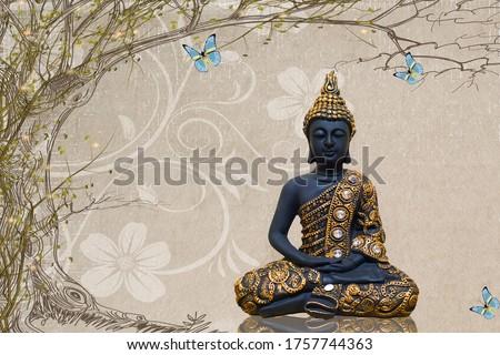 3d buddha, religious, illustration of buddha, 3d background