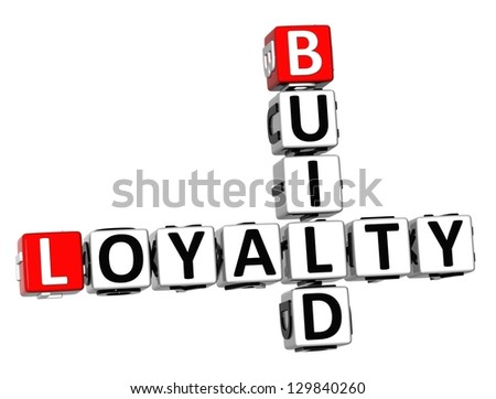 3D Build Loyalty Crossword on white background