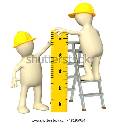 3d builders with ruler - over white