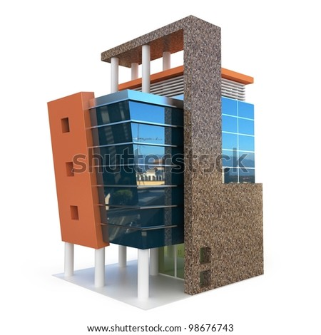 3d building generic rendered  on white  background