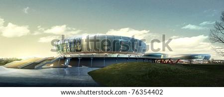 3d building landscape - stock photo