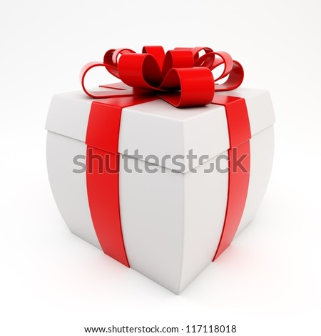 3d bulging gift isolated on white background