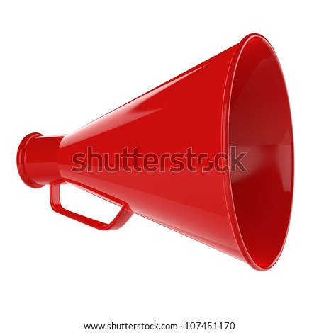 3D Bullhorn... Retro megaphone in a red color isolated on white background.