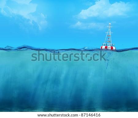 3d buoy floating on the ocean waterline view