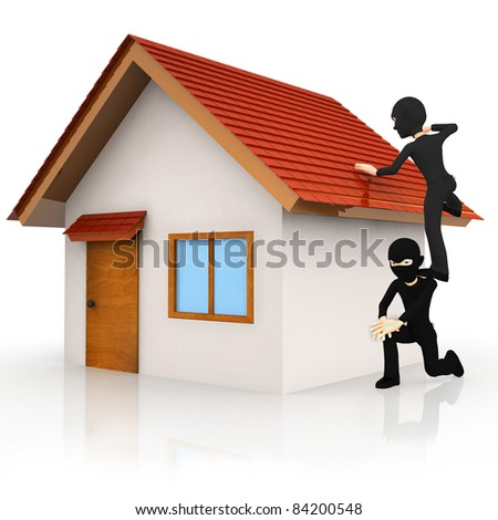 3D burglars breaking in to a house  - isolated