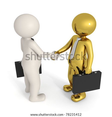 3d busines people making a deal and shaking hands - Isolated