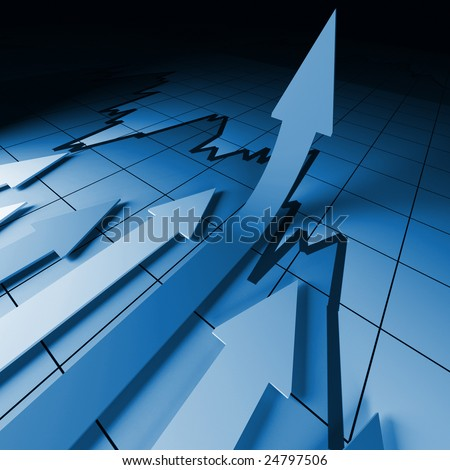 3d business background image, arrown on stat