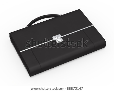 3d business bag briefcase black and chrome