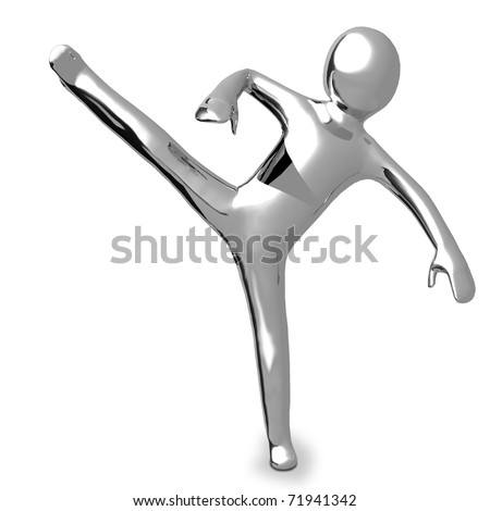 3D Business chrome man in a Karate position makes sport - stock photo