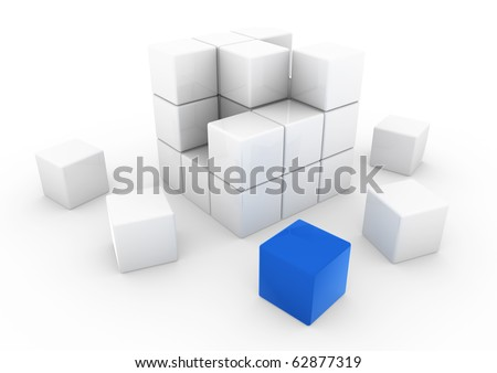 3d business cube white blue isolated on white background