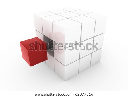 3d business cube white red isolated on white background
