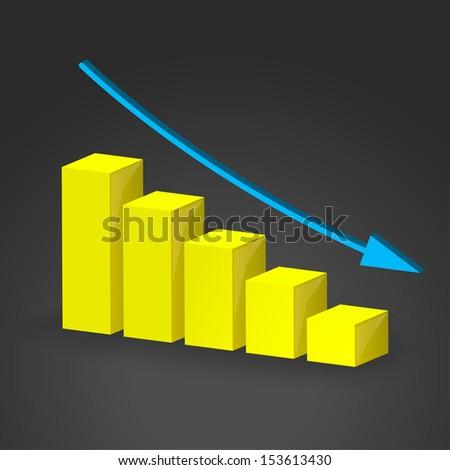 3D business decline graph. Business concept. This is Raster version.