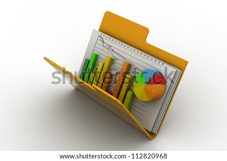 3d Business graph and chart in folder