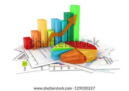 3d business graph and documents - stock photo