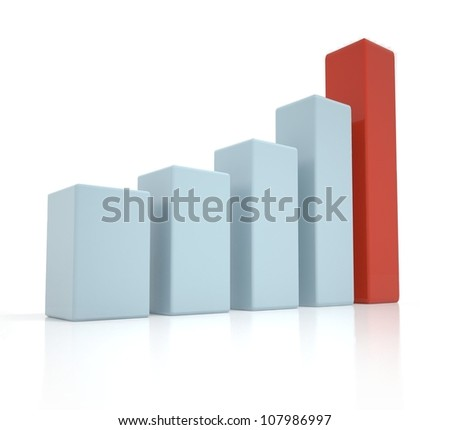 3D business graph, chart, diagram, bar