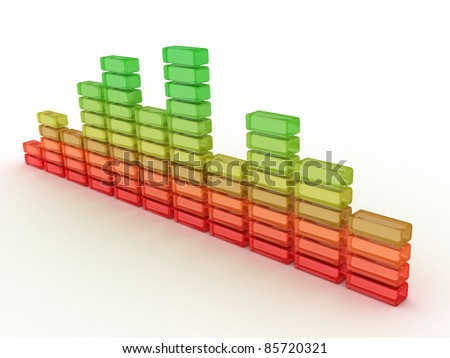 3D business graph diagram bars on white background