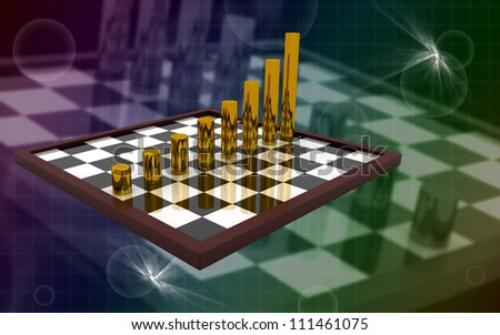 3d business graph on a chess board concept