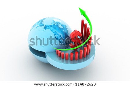 3d Business graph with dollar sign