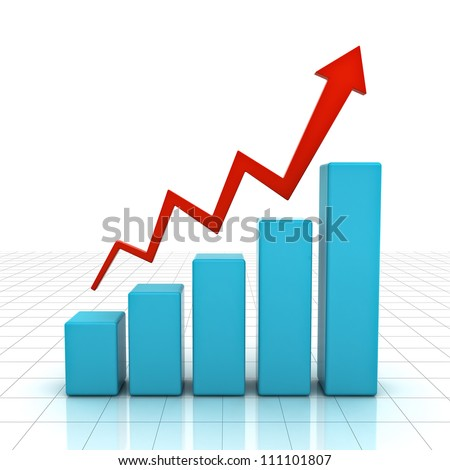 3d business graph with rising arrow over white background