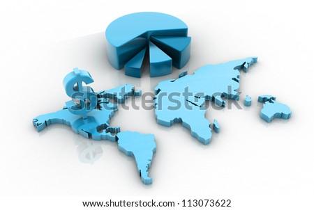 3d business growth concept with pie diagram and dollar sign