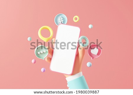 3d Business hand holding blank mobile phone with love like comment hashtag button on pink background, 3d illustration. Social media marketing concept