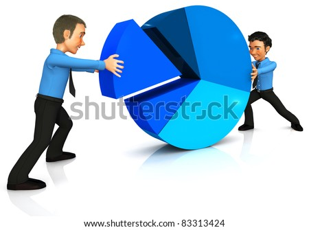 3D Business man assembling a pie chart - isolated over a white background - stock photo