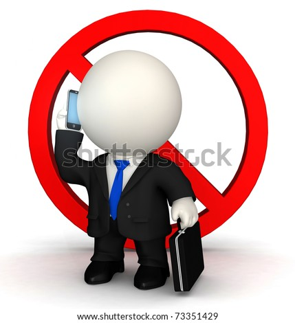 3D business man being banned from talking on the phone - isolated