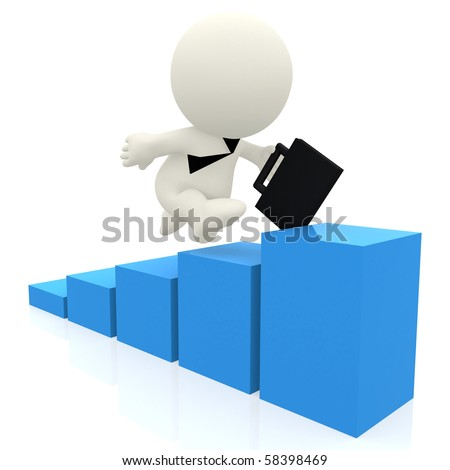3D business man climbing a blue graph isolated over a white background - stock photo