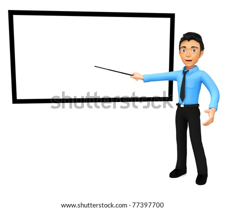 3D business man giving a conference with a graph - isolated