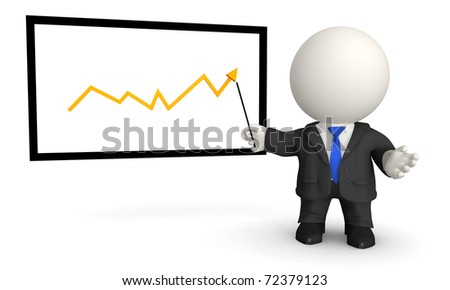 3D business man giving a conference with a growth graph
