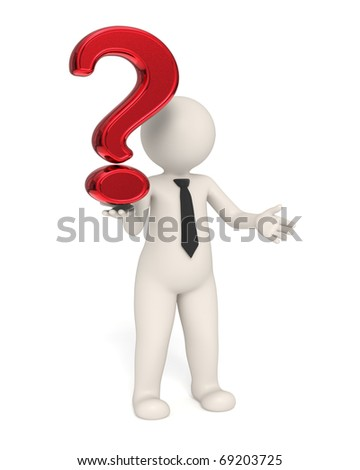 3d business man holding a red question mark in his hand - Isolated