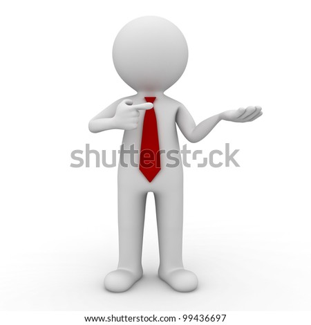 3d business man holding your product and pointing finger at it on white background