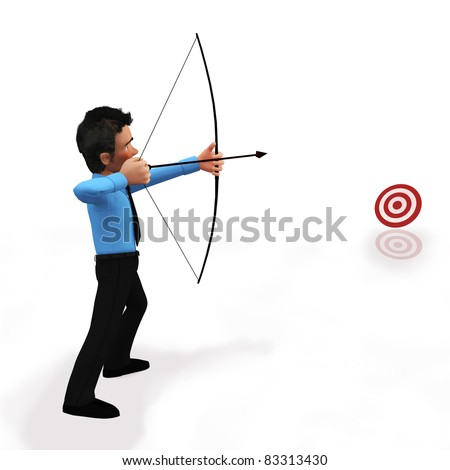 3D business man practicing target shooting - isolated