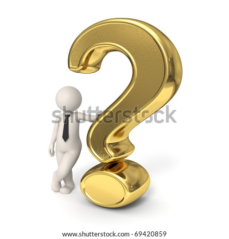 3d business man standing near a gold question mark - Isolated