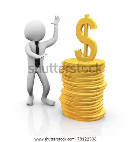 3d business man standing with stack of coins