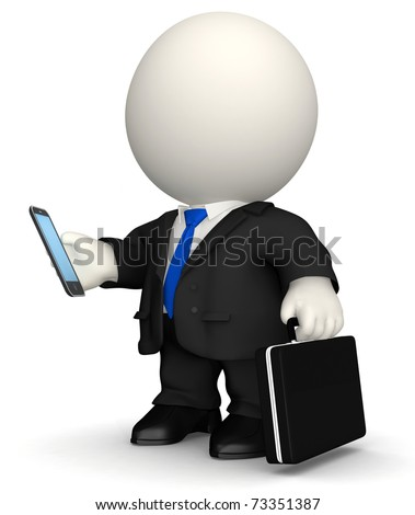 3D Business man texting on his cell phone - isolated over white