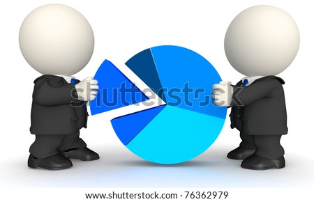 3D Business man with a pie chart - isolated over a white background