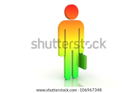3d business man with  briefcase
