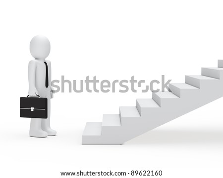 3d business man with briefcase for stairs