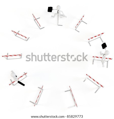 3d business man with running obstacles on white background