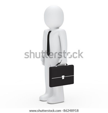 3d business man with tie and briefcase