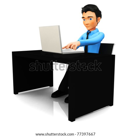 3D Business man working on a laptop computer at the office