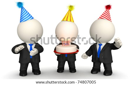 3D Business men celebrating a birthday, anniversary or promotion - isolated