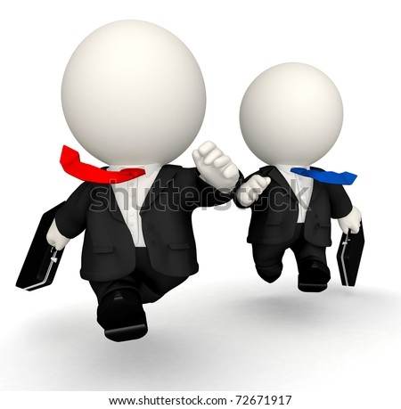 3D business men in a rush - isolated over a white background