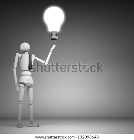 3d business people and light bulb - stock photo